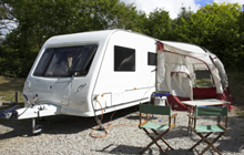 Caravan with pull out tent